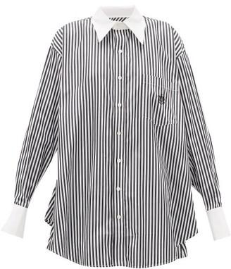 Matthew Adams Dolan - Logo-embroidered Striped Cotton-poplin Shirt - White Black