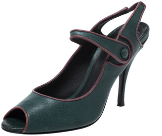 Dolce & Gabbana Green Leather Mary Jane Peep Toe Pumps Size 40
