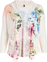White Floral Hooded Open Cardigan - Plus