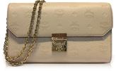 MCM Medium New Beige Millie Monogrammed Leather Flap Crossbody Bag