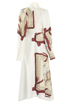 Victoria Beckham Printed Silk Draped-Sleeve Silk Shirt Dress