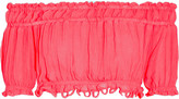 Apiece Apart Oeste Off-the-shoulder Silk-crepon Top - Bright pink