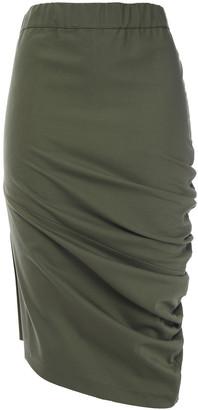 Brunello Cucinelli Draped Bead-embellished Cotton-blend Twill Skirt