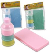 Little Mimos 2pc Baby Set Plastic Wipe Case + Powder Holder
