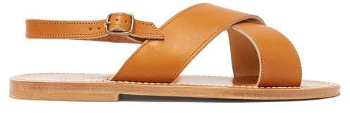K. Jacques Osorno Crossover Leather Sandals - Womens - Tan