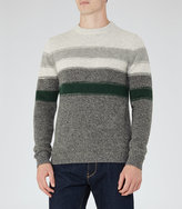 Reiss Reiss Tyler - Wool Stripe Jumper In Green
