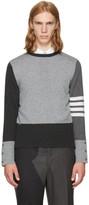 Thom Browne Grey Classic Four Bar Funmix Crewneck Sweater