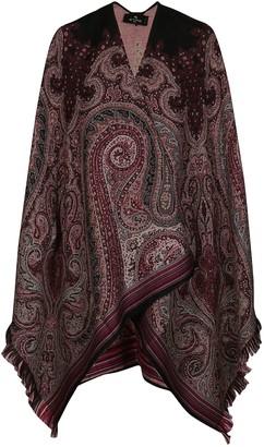 Etro Multicolor Wool Poncho