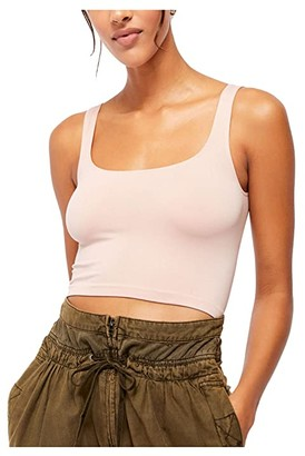 Free People Scoop Neck Crop (Black) Women's Clothing