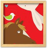 "Art.com Farm Group: Rabbit and Horse"" Natural Wood Framed Art Print by Yuko Lau"