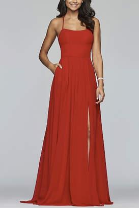 Faviana Long halter neck plain chiffon dress
