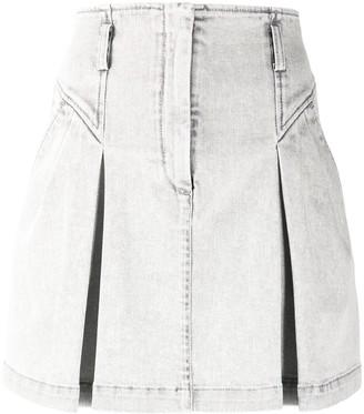 Alberta Ferretti Pleated Denim Mini Skirt