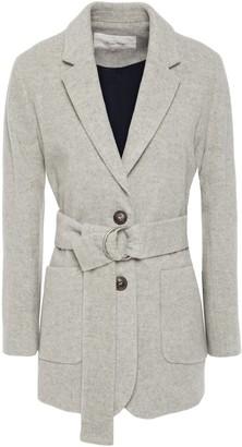 American Vintage Belted Melange Wool-blend Brushed-felt Coat