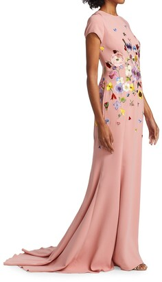 Embroidered Flower Crepe Gown