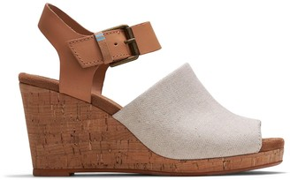 Toms Natural Oxford Honey Leather Women's Tropez Wedges