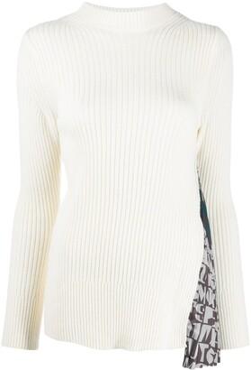 Sacai Godet-Insert Ribbed Sweater