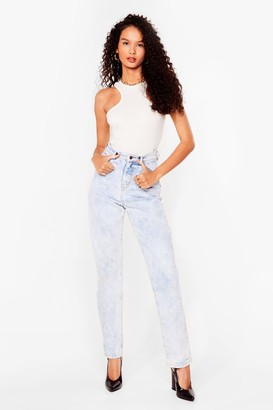 Nasty Gal Womens Acid Wash Our Back High-Waisted Jeans - Blue