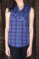 Angie Plaid Sleeveless Button Up
