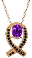 Gem Stone King 1.54 Ct Oval Purple Amethyst Black Diamond Gold Plated Sterling Silver Pendant