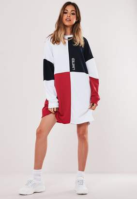 Missguided Navy Oversized Colourblock Sweater Dress