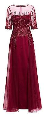 Teri Jon by Rickie Freeman Women's Three-Quarter Sleeve Tulle Gown