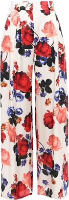 Mother of Pearl Floral-print Silk-satin Wide-leg Pants
