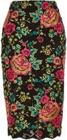 River Island Womens Black floral embroidered pencil skirt