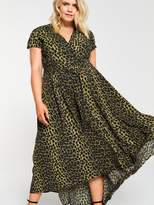 AX Paris Curve Dip Hem Leopard Dress -Green