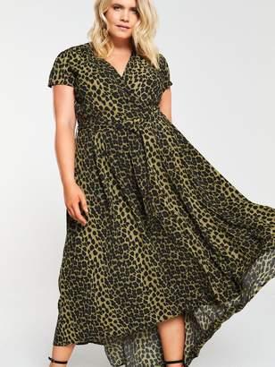 AX Paris Curve Dip Hem Leopard Dress -Green