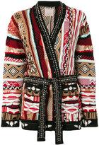 Laneus embellished intarsia-knit cardigan
