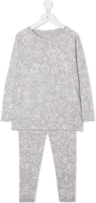 Bonpoint Sketch Print Two-Piece Pajama Set