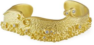 Farah Tanya Textured 18k Gold & Diamond Cuff Bracelet