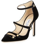 Jimmy Choo Lacey Strappy Velvet Mary Jane Pump, Black