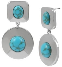 Kenneth Cole New York Silver-Tone Cabochon Double Drop Earrings