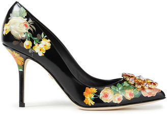Dolce & Gabbana Crystal-embellished Floral-print Leather Pumps
