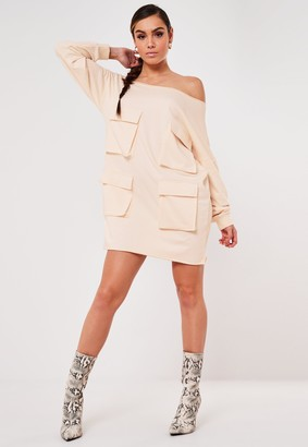 Missguided Stone Oversized Raw Edge Utility Sweater Dress