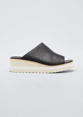 Vince Sarria Leather Wedge Slide Sandals