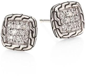 John Hardy Classic Chain Diamond & Sterling Silver Stud Earrings