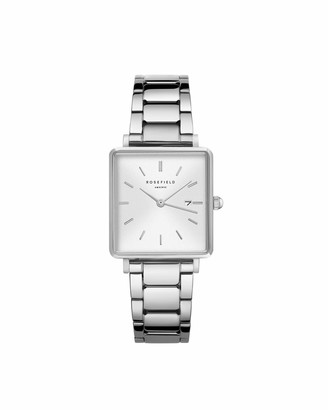 ROSEFIELD Women's Watch The Boxy: Silver 26 * 28mm Square Case with White Dial and Silver Strap - QWSS-Q042