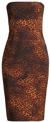Black Halo Jackie Leopard Print Strapless Dress