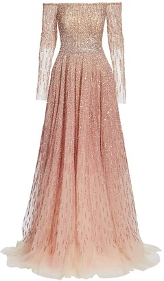 Pamella Roland Off-The-Shoulder Ombre Sequin & Crystal Gown