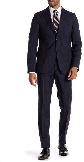 Ermenegildo Zegna Abito 2 Pezzi Blue Pinstripe Two Button Notch Lapel Classic Fit Wool Suit