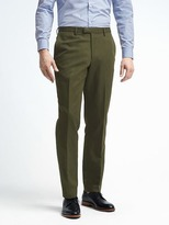 Banana Republic Slim Olive Cotton Linen Suit Trouser