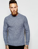 Asos Lightweight Cable Knit Jumper In Navy Twist