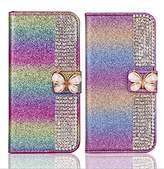 Superstart Colorful iPhone 7 4.7 3D Handmade Beauty Butterfly Rhinestone Diamond Case for iPhone 7 4.7 Bling PU Leather Flip Stand Credit Card Wallet Cover