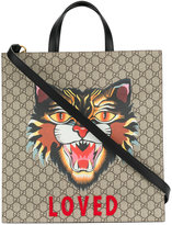 Gucci GG Supreme tote with printed Angry Cat