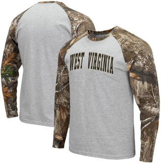 Colosseum Men's Heathered Gray/Realtree Camo West Virginia Mountaineers Arch & Logo Raglan Long Sleeve T-Shirt