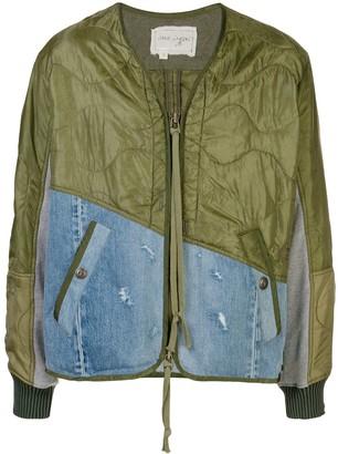 Greg Lauren Contrast Panel Bomber Jacket