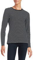Lord & Taylor Petite Striped Crewneck Top