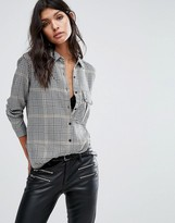 MANGO Check Print Shirt